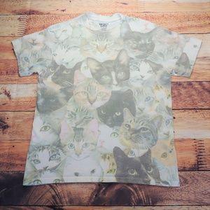 Crazy Cat Print T Shirt